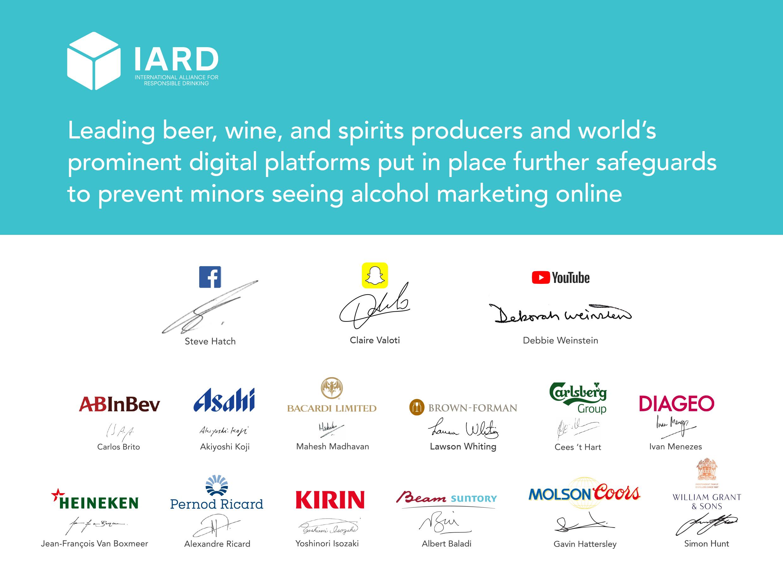 มาตรฐานความรับผิดชอบทางการตลาดเครื่องดื่มแอลกอฮอล์บนสื่อสังคมออนไลน์,ผู้ผลิตเครื่องดื่มแอลกอฮอล์,ตลาดเครื่องดื่มแอลกอฮอล์,ผู้ผลิตเครื่องดื่มแอลกอฮอล์ชั้นนำร่วมกับแพลตฟอร์มดิจิทัลระดับโลกยกระดับมาตรฐานความรับผิดชอบทางการตลาดเพื่อป้องกันการเข้าถึงการตลาดเครื่องดื่มแอลกอฮอล์ของเยาวชนผ่านสื่อสังคมออนไลน์